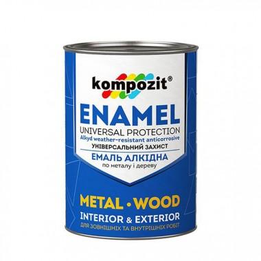 Алкідна емаль по металу і дереву Kompozit біла 0,9кг