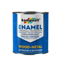 Алкідна емаль по металу і дереву Kompozit біла 2,8кг